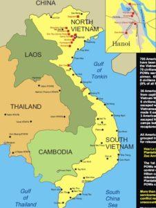 Mapka táborů pro válečné zajatce Severního Vietnamu